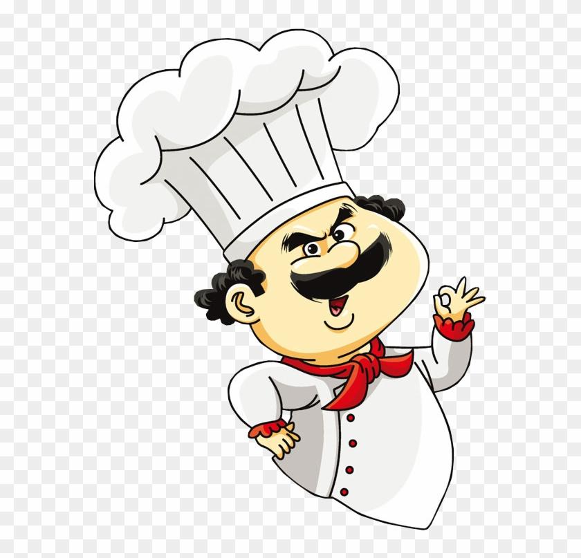 Cartoon Chef Making Hand Sign.