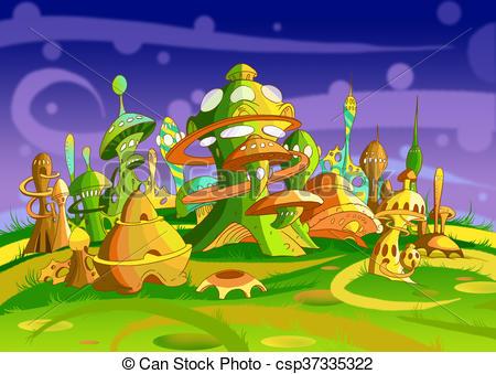 Futuristic Alien City.