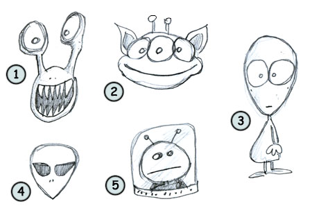 How to draw cartoon aliens.