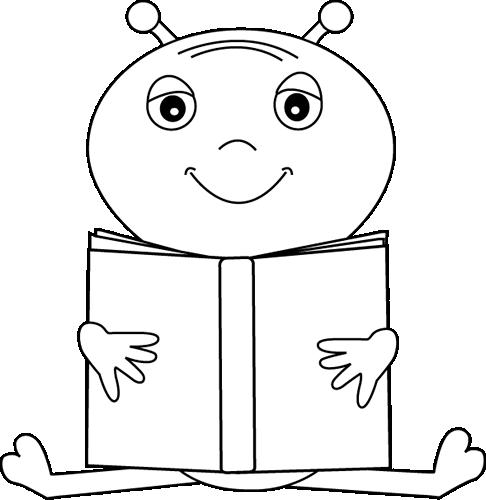 Black and White Alien Reading a Book Clip Art.