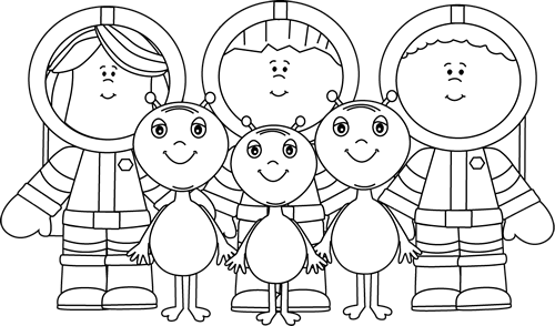 Black and White Astronauts and Aliens Clip Art.