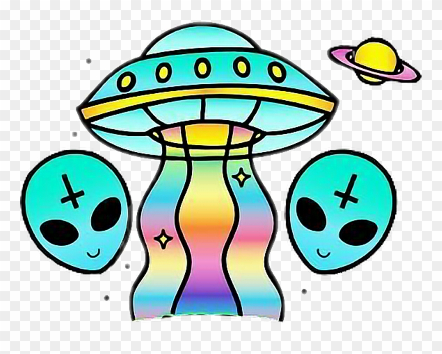 Alien Ovni Cool Rainbow Girl Tumblr Sticker Freetoedit.