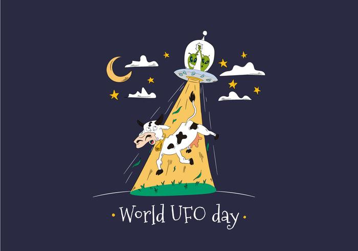 World UFO Day With Aliens Abducting Cow Vector.