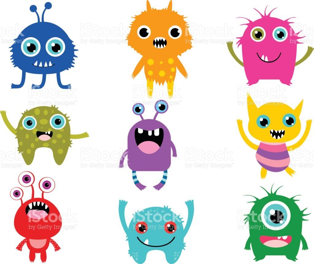 Cute vector monsters or aliens creatures for Halloween and.