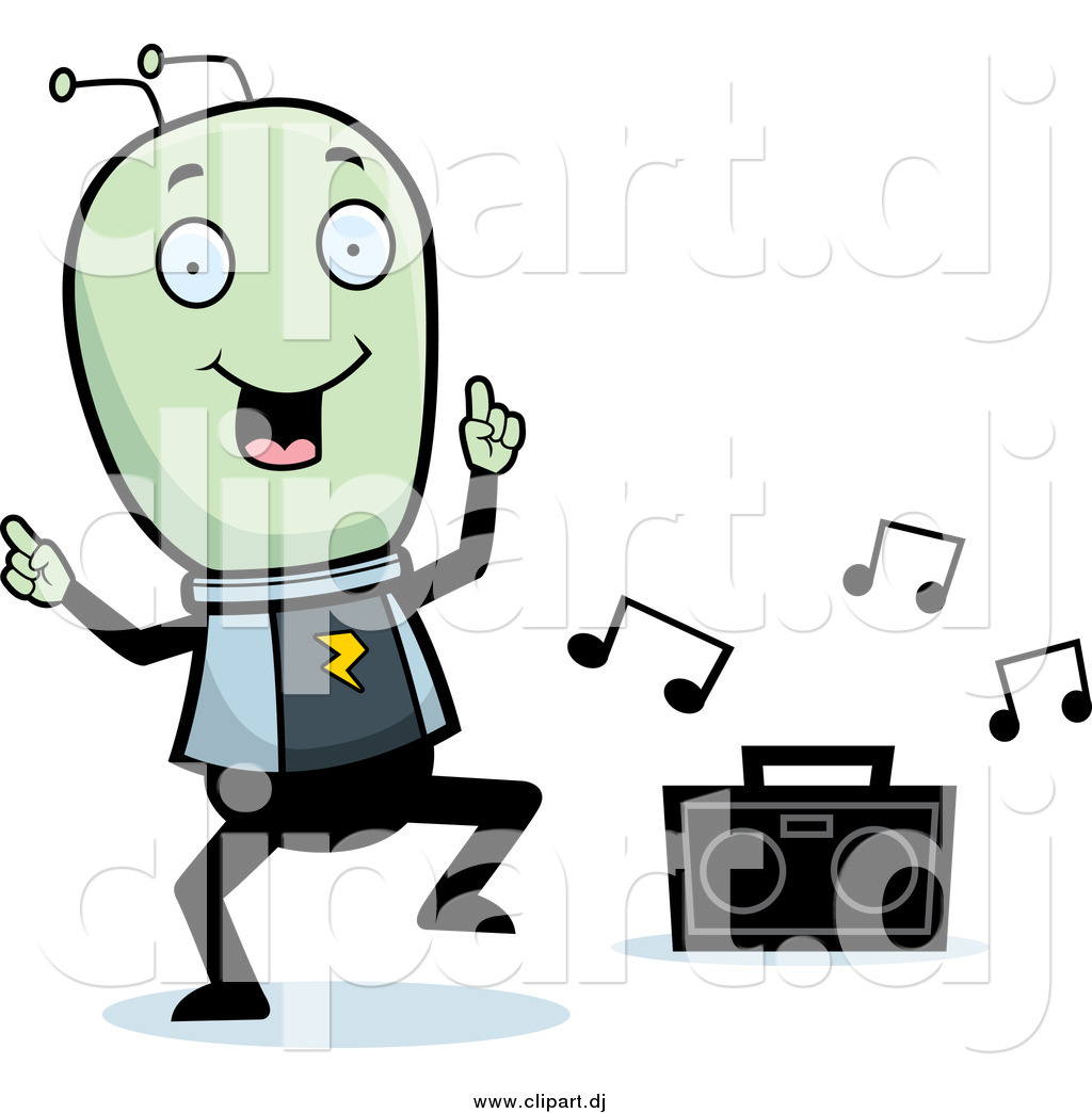 Cartoon Vector Clipart of a Green Alien Dancing to Music by.