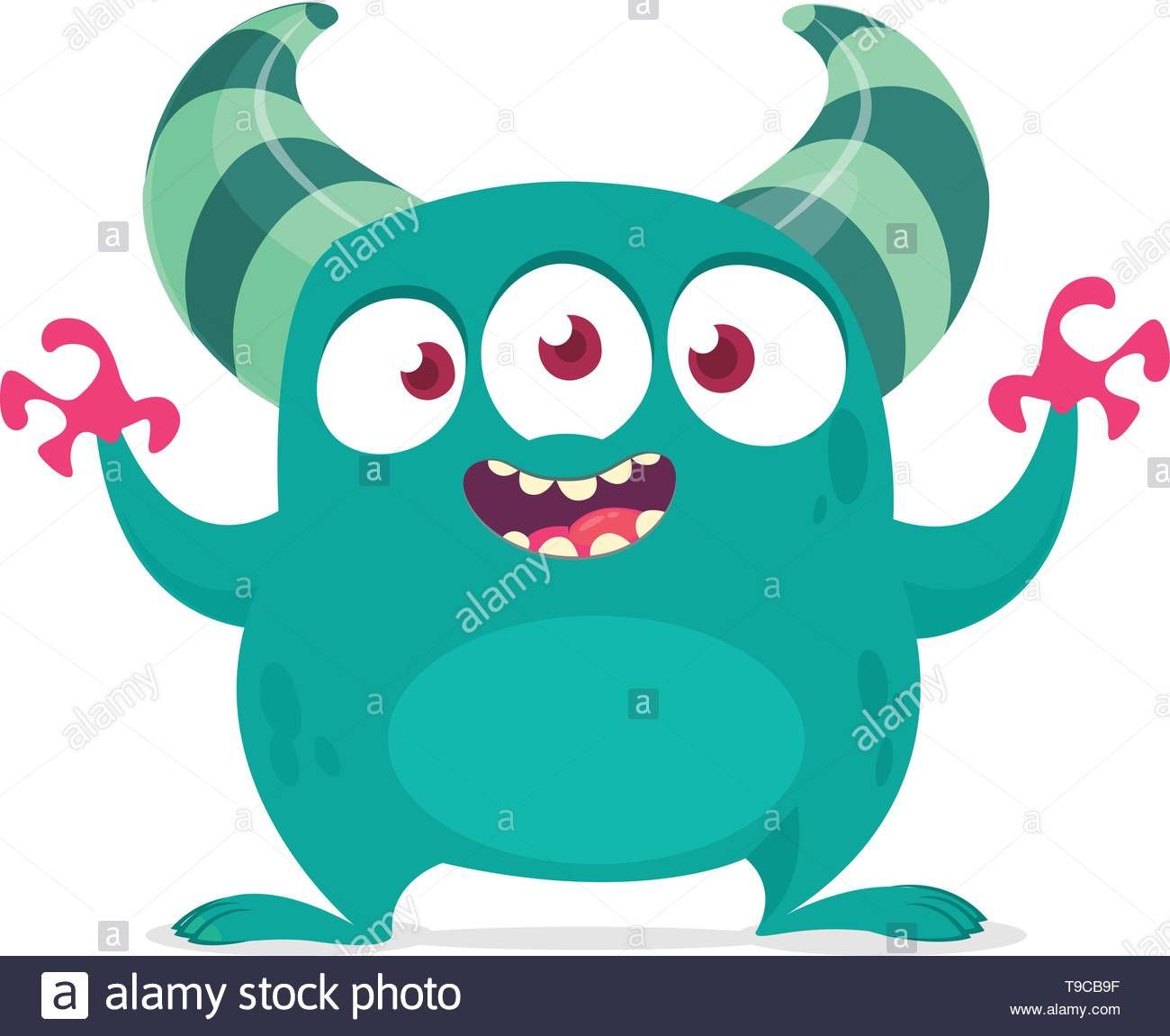 Funny cartoon alien with three eyes. Vector illustration. Clipart.