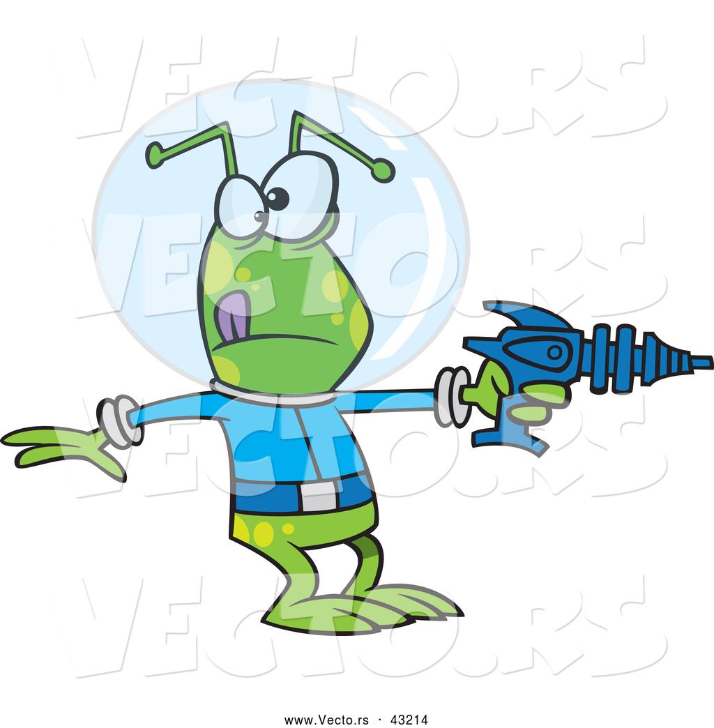 Vector of a Green Cartoon Alien Pointing a Ray Gun by Ron Leishman.