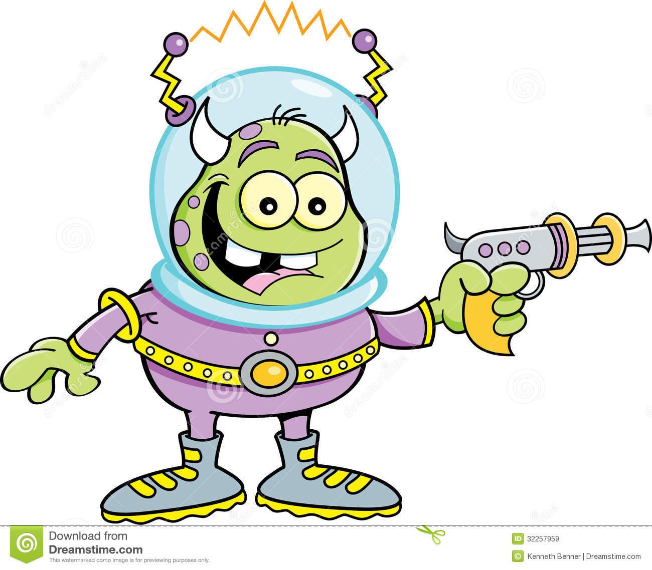 Alien With Gun Clipart.