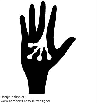 Hand holding alien hand.