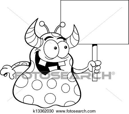 Cartoon Alien Holding a Sign Clipart.