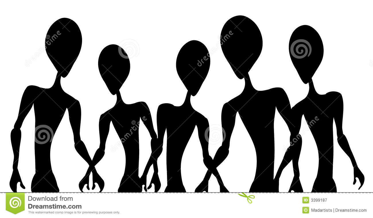 Alien Invasion Figure Outlines Royalty Free Stock Photography.