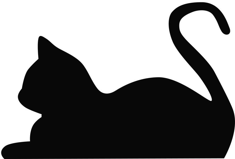 Lying Down Cat Silhouette.