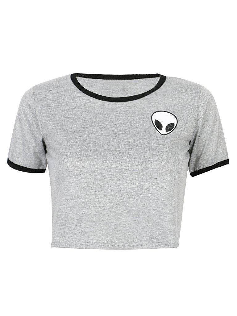 CR Women\'s Red Alien Logo Short Sleeve Cropped Shirt.