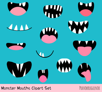 Spooky monster mouths clipart, Funny ugly Halloween alien face elements  teeth.