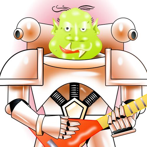 Alien playing guitar.