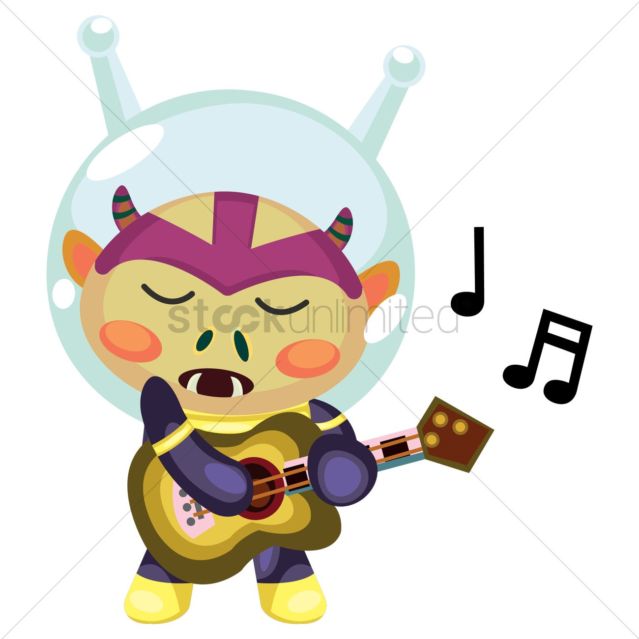 Free Alien creature singing while playing guitar Vector.