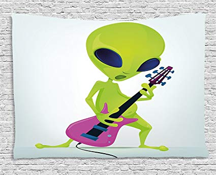 Amazon.com: Popstar Party Tapestry, Cartoon Alien Character.