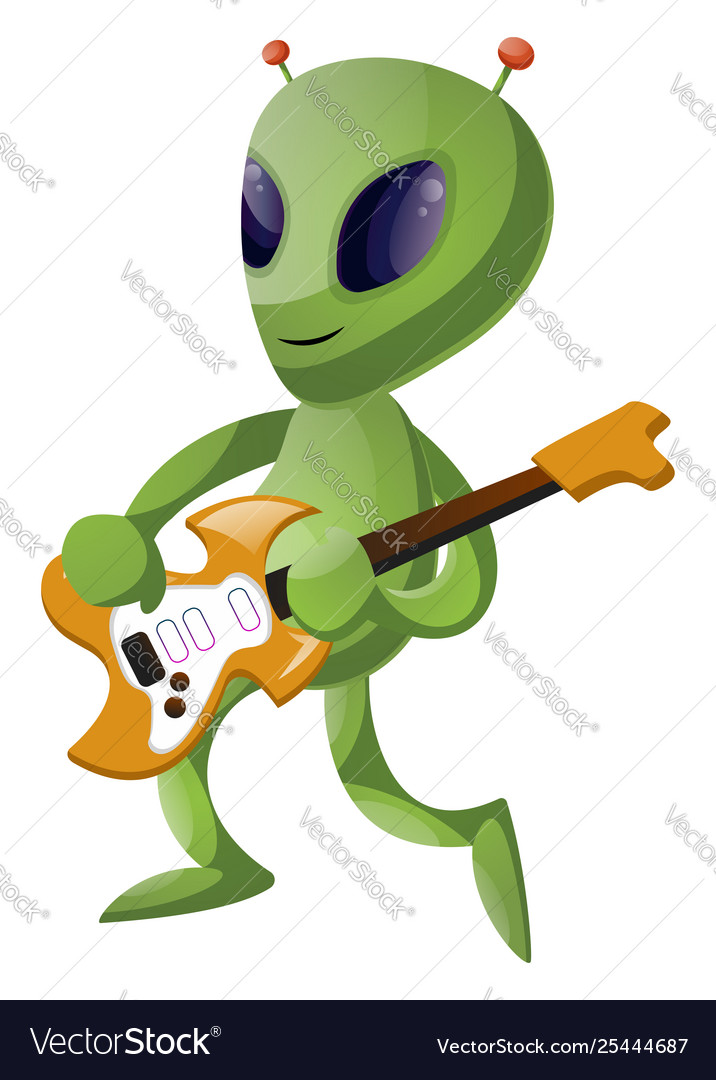 Alien with guitar on white background.