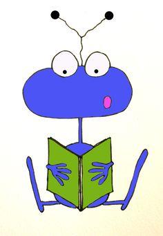 alien reading a book.