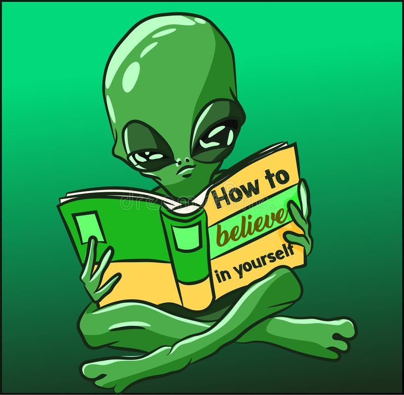 Alien Reading Stock Illustrations.