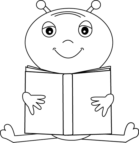 Black and White Alien Reading a Book Clip Art.
