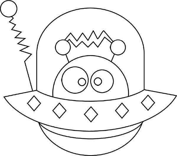 Alien Hide in Spaceship Coloring Page ….