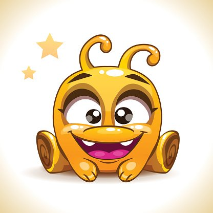 Funny cartoon sitting yellow alien monster Clipart Image.