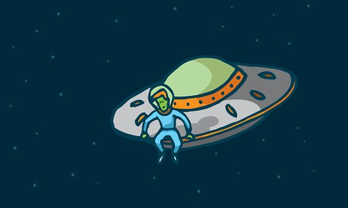 Funny alien sitting in his spaceship Clipart Image.