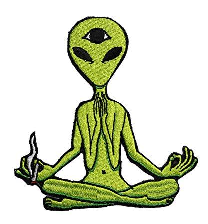 Amazon.com: Embroidery Patch Zen Alien Aliens UFO Smoking.