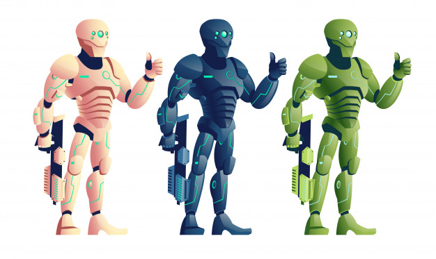 Various color, future cyborg warriors, soldiers in.