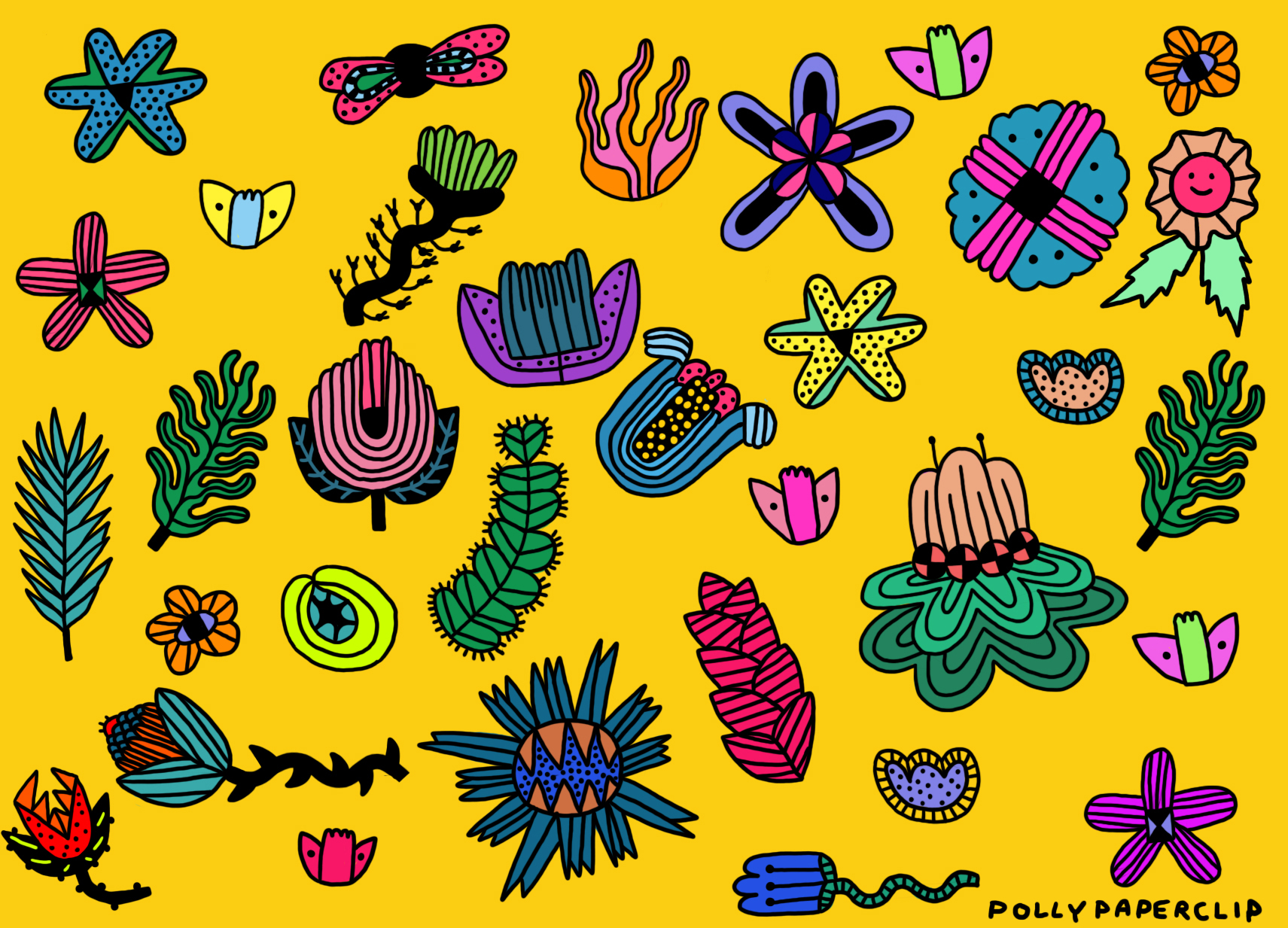 Alien Space Plants A4 poster sold by Polly Paperclip.