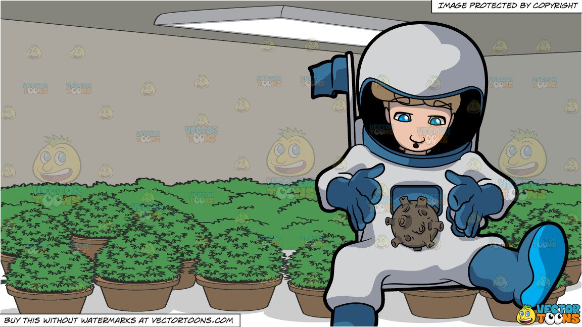 A Male Astronaut In Space Studies A Round Alien Object and A Grow Room Full  Of Potted Plants.