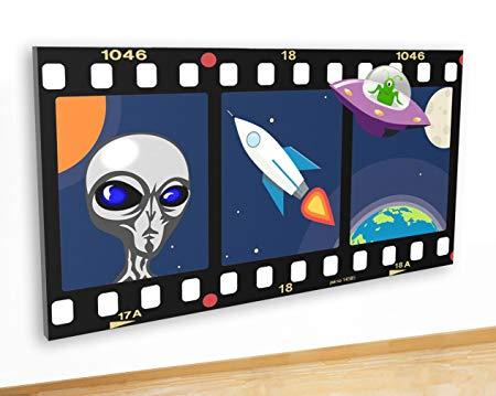 tekkdesigns M470 Alien Space UFO Plants Kids Canvas Picture.