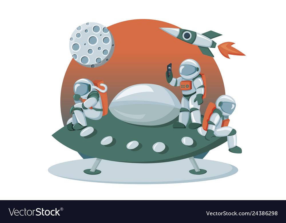 Astronaut landing on an alien space ship.