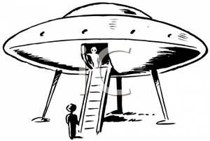 A Black and White Retro Style Cartoon of an Alien Spaceship.