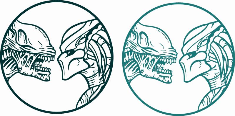 Alien vs Predator Sticker Free Vector cdr Download.