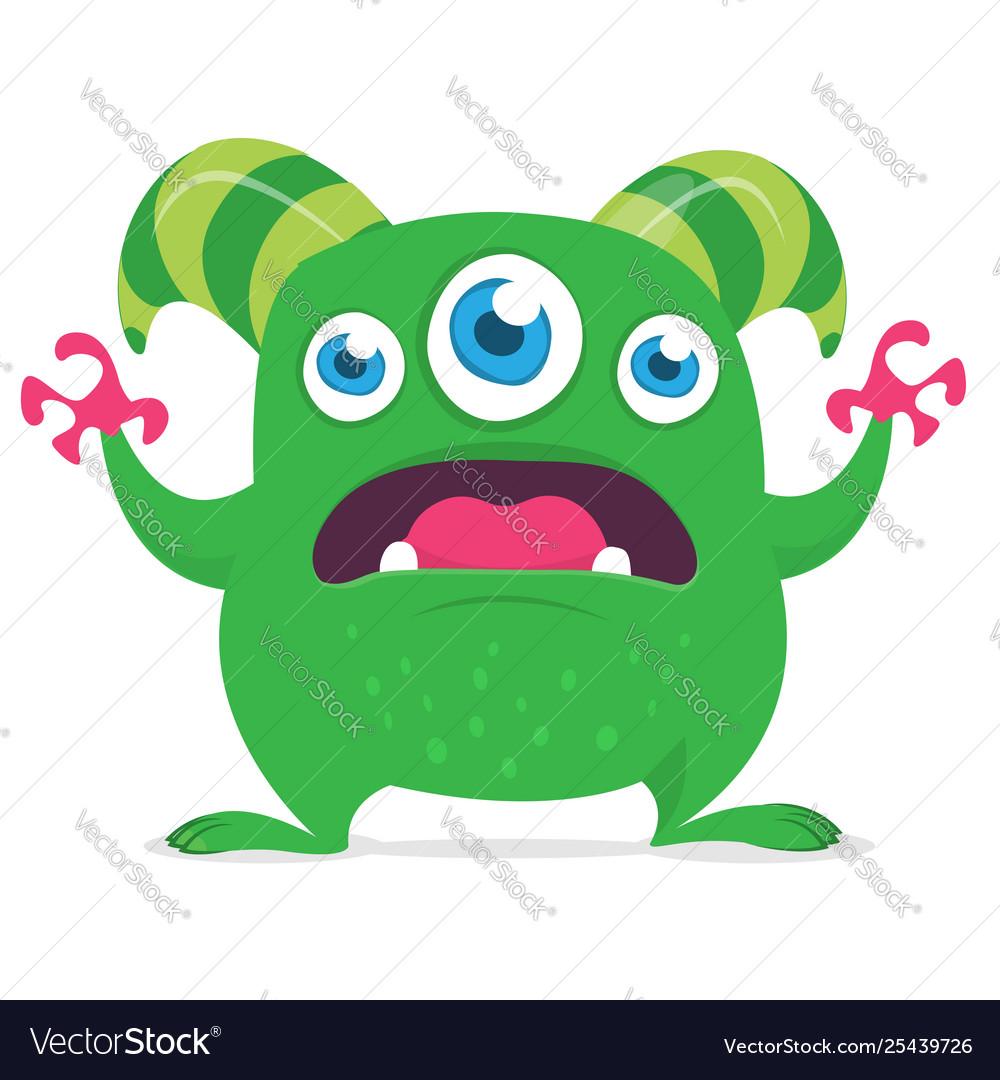 Cute cartoon alien monster with three eyes.
