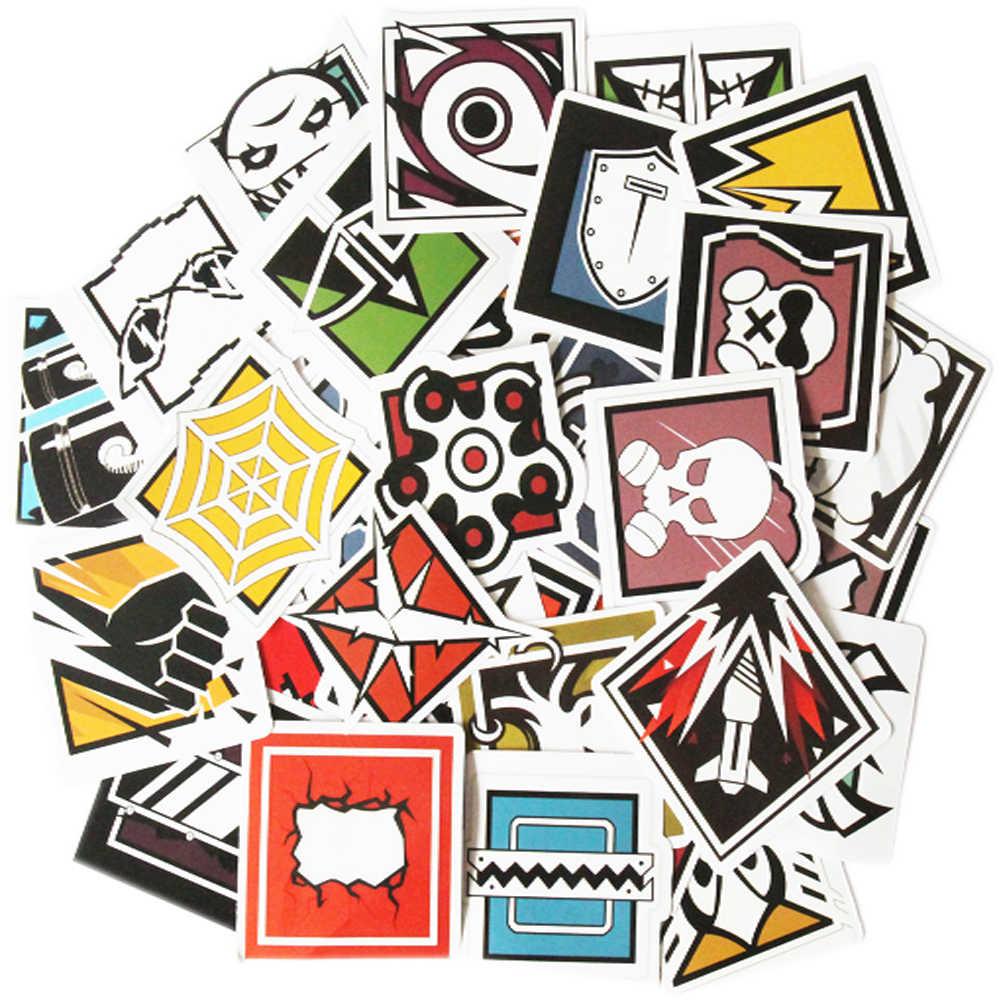 40 PCS Rainbow Six Stickers Seige R6 Operators Icon Graffiti.