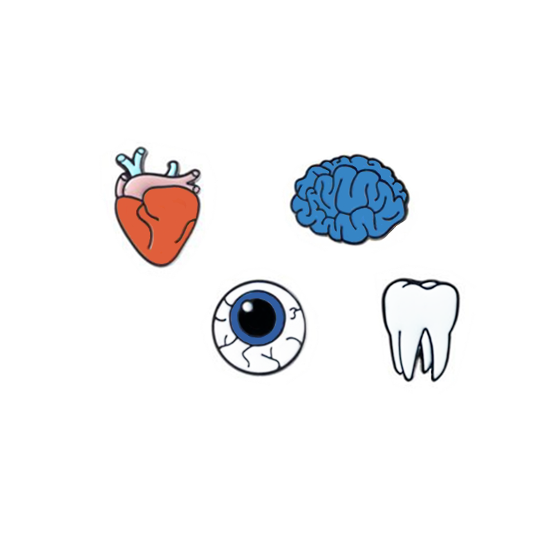 1 PCS Kawaii Heart Eye Brooch Brain Teeth Icons on The Backpack Badges for  Clothing Harajuku Pin Badge Icon.