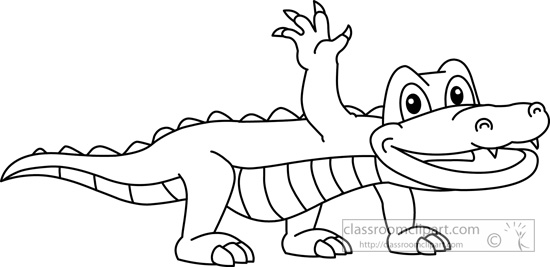 Alligator Black And White Clipart.