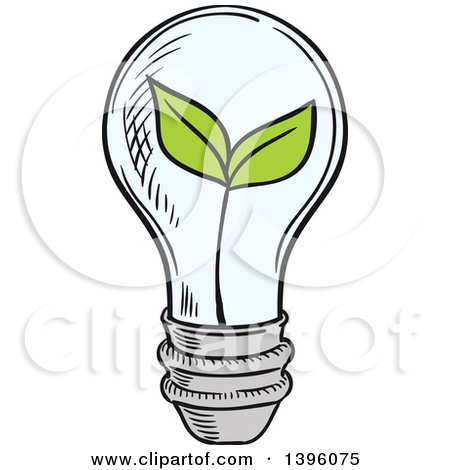 Clipart of a Sketched Plant in a Light Bulb.