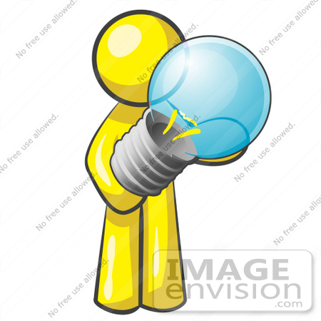 Clip Art Graphic of a Yellow Guy Character Holding a Light Bulb.