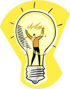 Man Inside a Light Bulb Clip Art Image.