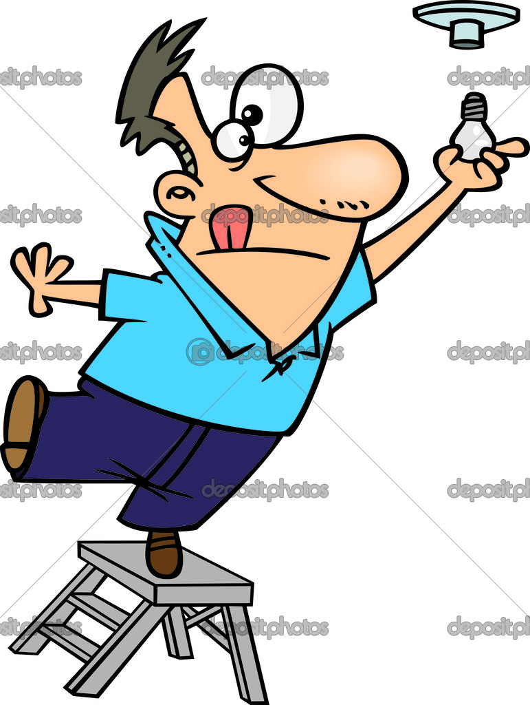 Clipart Man Standing On The Top Of A Ladder And Installing A Light.