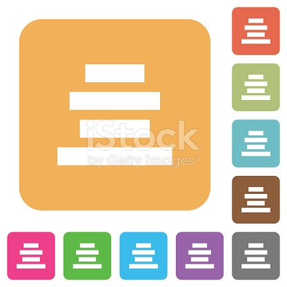 Text Align Center Rounded Square Flat Icons stock vector art.