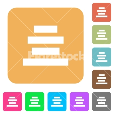 Text align center rounded square flat icons.