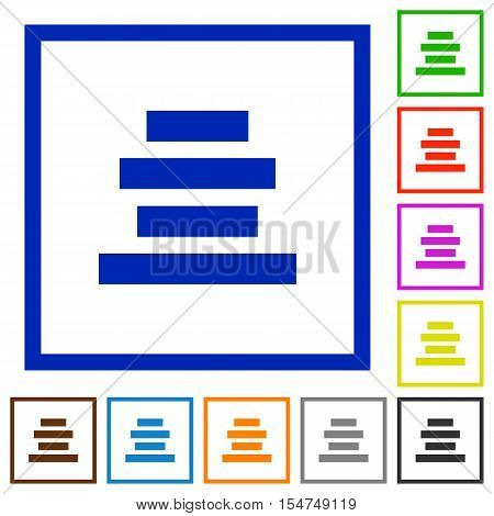 Text align center flat color icons in square frames Stock Vector.