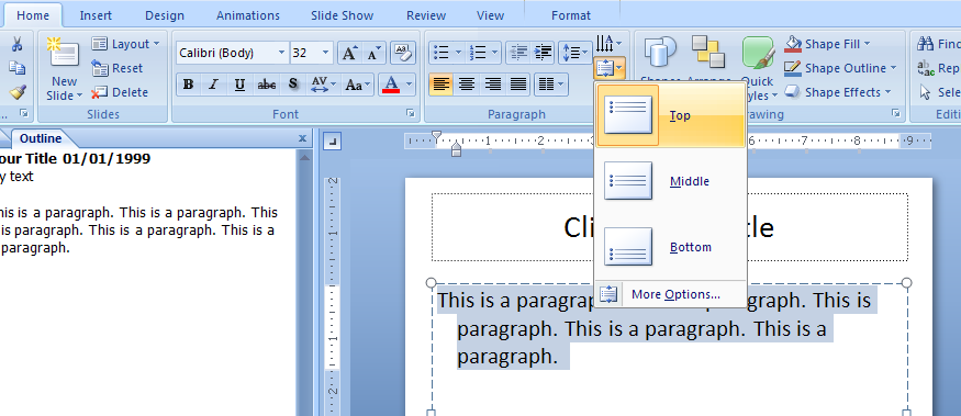 how to get text in powerpoint vertical