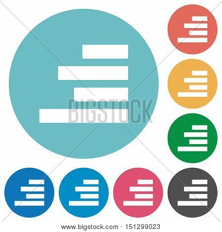 Flat Text align right icon set on round color background. Stock.