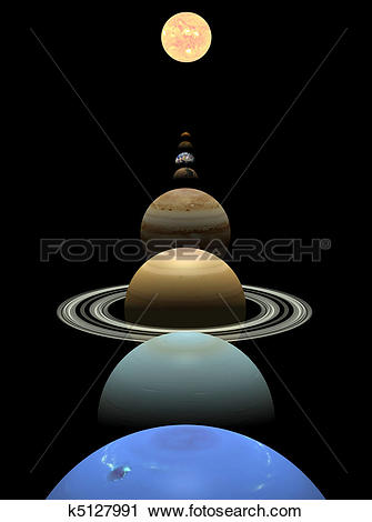 Clipart of Solar system planets in alignment around sun k5127991.